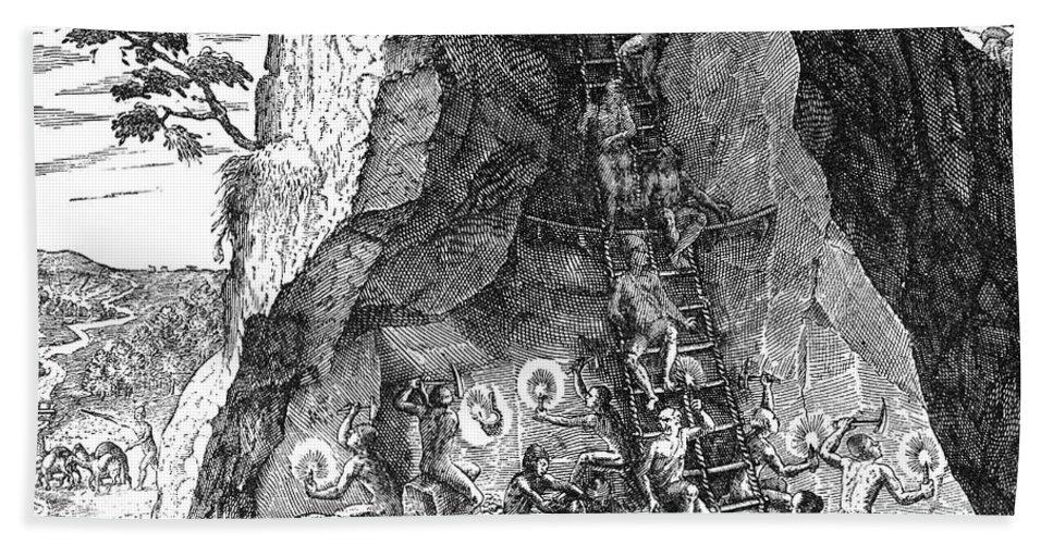 1590 Beach Towel featuring the photograph De Bry: Potosi, 1590 by Granger