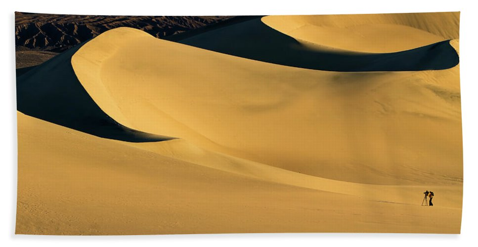 Death Valley Beach Towel featuring the photograph Death Valley And Photographer In Morning Sun by William Freebillyphotography