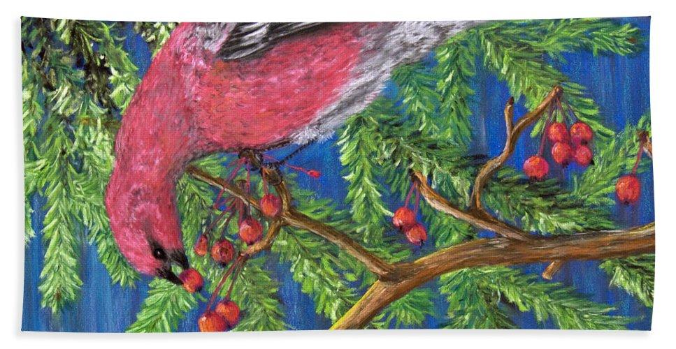 Pine Grosbeak Beach Towel featuring the painting December Berries by Dee Carpenter