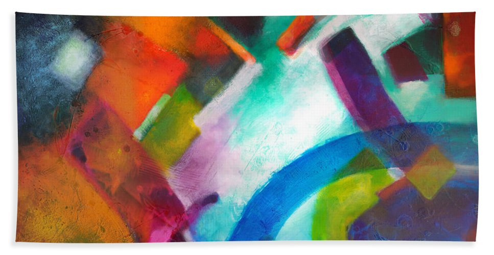Geometric Paintings Beach Towel featuring the painting Declaration by Sally Trace