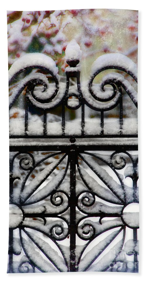 Home Beach Towel featuring the photograph Decorative Iron Gate In Winter by Jill Battaglia