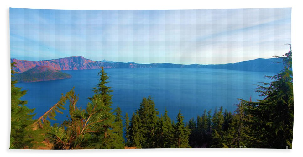 Crater Lake National Park Beach Towel featuring the photograph Deep Blue by Adam Jewell