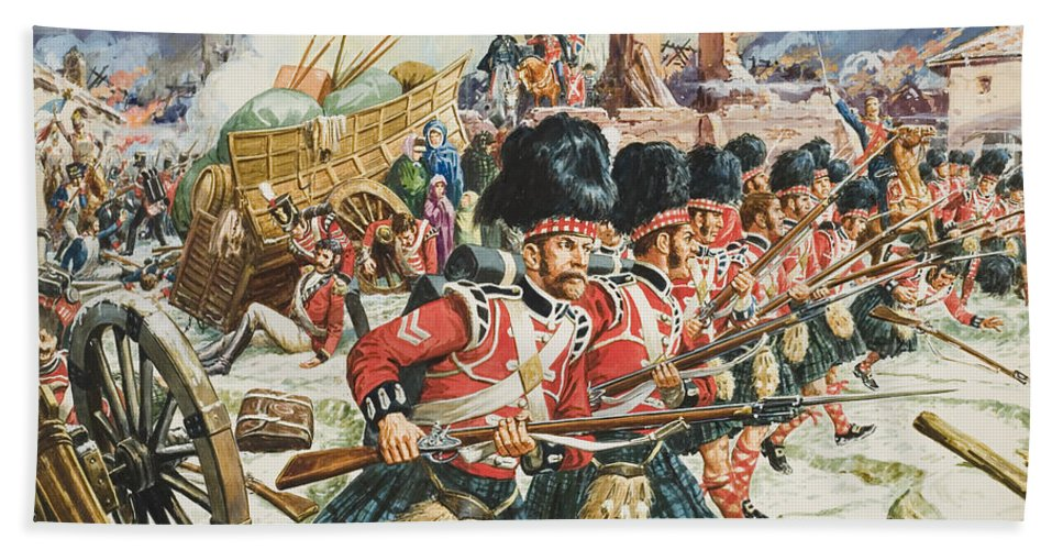 Northwest Spain; Defending; Soldier; Soldiers; Rifle; Rifles ;cannon; Church; Peninsular War; 51st Highlanders; Scottish; Military; Sir John Moore; Traditional; Costume; Dress; Uniform; Regiment; Defense; La Corogne Beach Towel featuring the painting Defence Of Corunna by C L Doughty