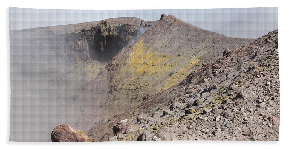 Nature Beach Towel featuring the photograph Degassing North Crater With Fumarolic by Richard Roscoe