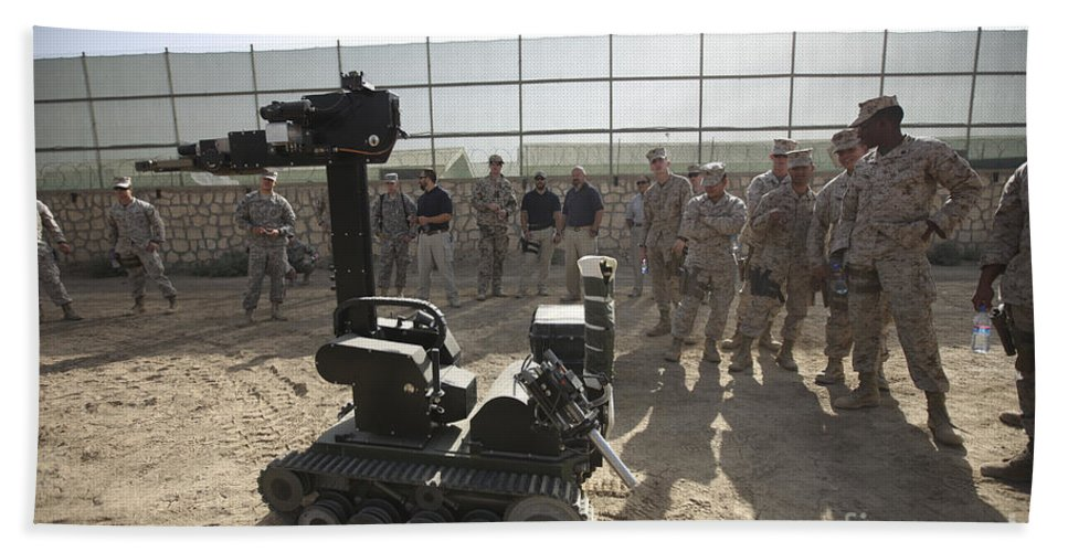 Operation Enduring Freedom Beach Towel featuring the photograph Demonstration Of A Bomb Disposal Robot by Terry Moore