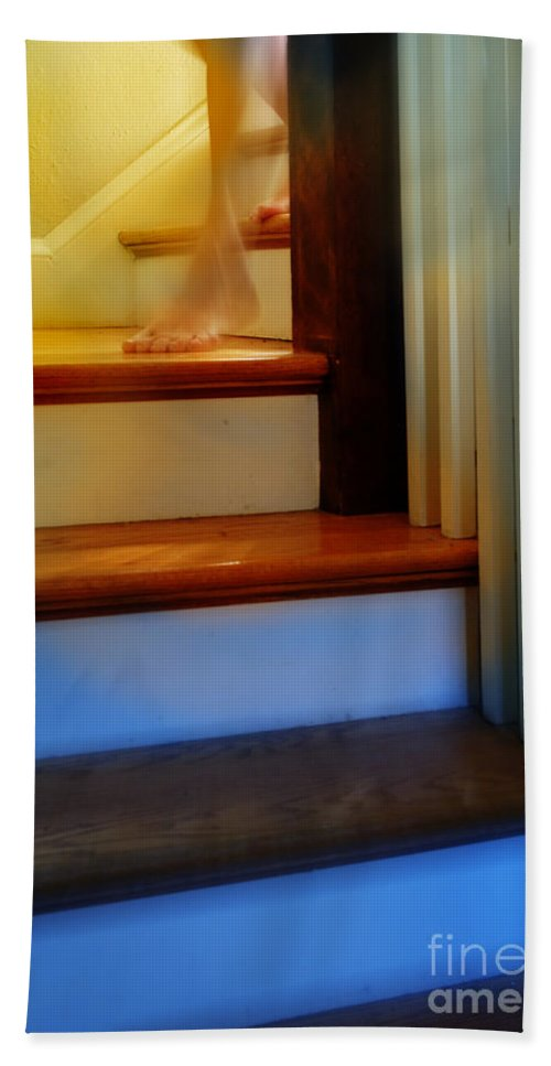 Descending The Stairs Beach Towel featuring the photograph Descending The Stairs by Jill Battaglia