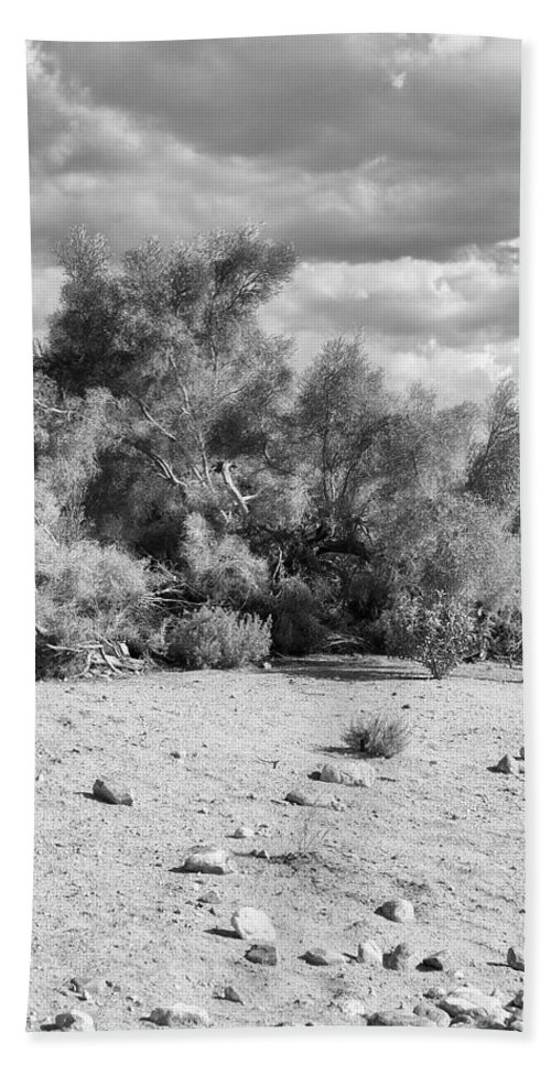Desert Beach Towel featuring the photograph Desert Cloud Bw Palm Springs by William Dey