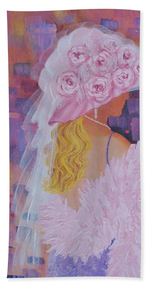Red Hat Society Beach Towel featuring the painting Pink Hat Beauty by Margaret Bobb