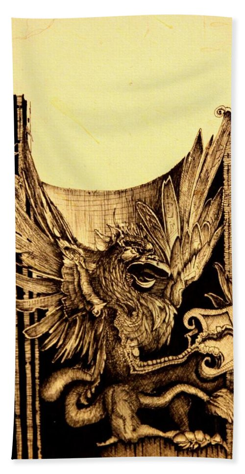 Ink Beach Towel featuring the painting Detail 3 Of - An Unfinished Dream - Durer by J Vincent Scarpace