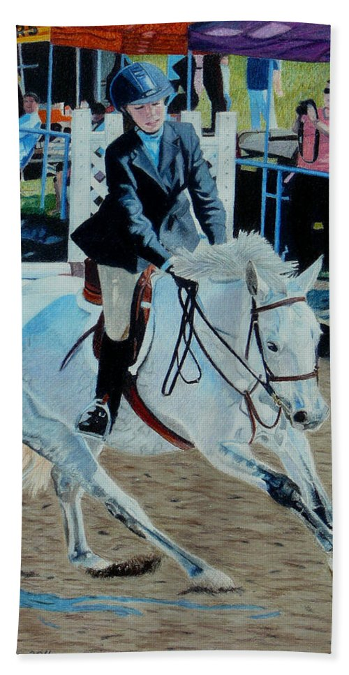 Art Beach Towel featuring the painting Determination - Horse And Rider - Horseshow Painting by Patricia Barmatz