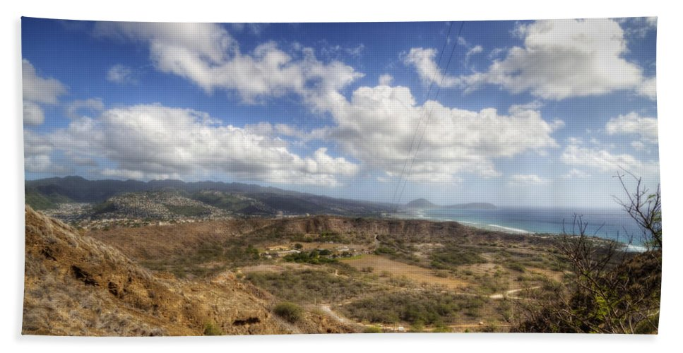Crater Beach Towel featuring the photograph Diamond Head 1 by Jessica Velasco