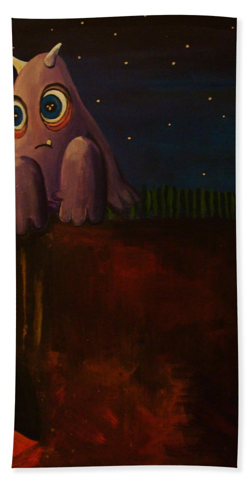 Monster Beach Towel featuring the painting Disconnecting by Mindy Huntress