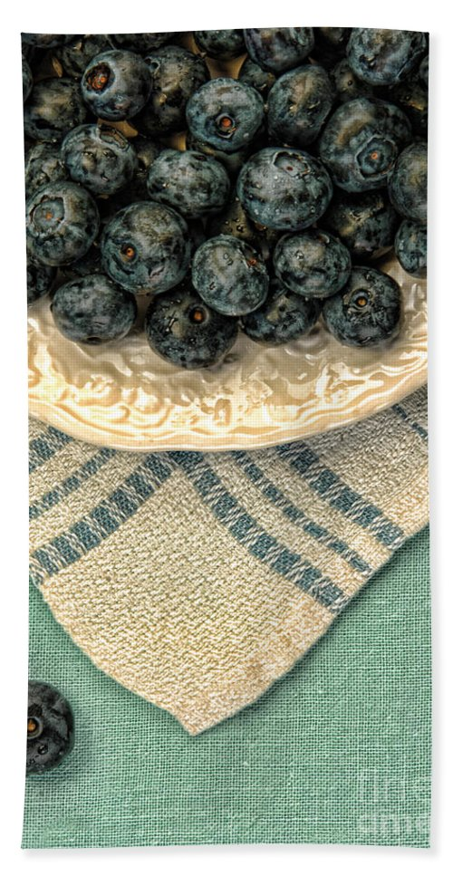 Blueberries Beach Towel featuring the photograph Dish Of Fresh Blueberries by Jill Battaglia