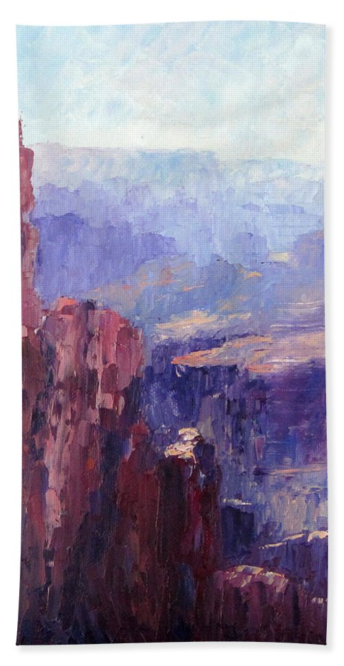 Grand Canyon Beach Towel featuring the painting Distance by Terry Chacon