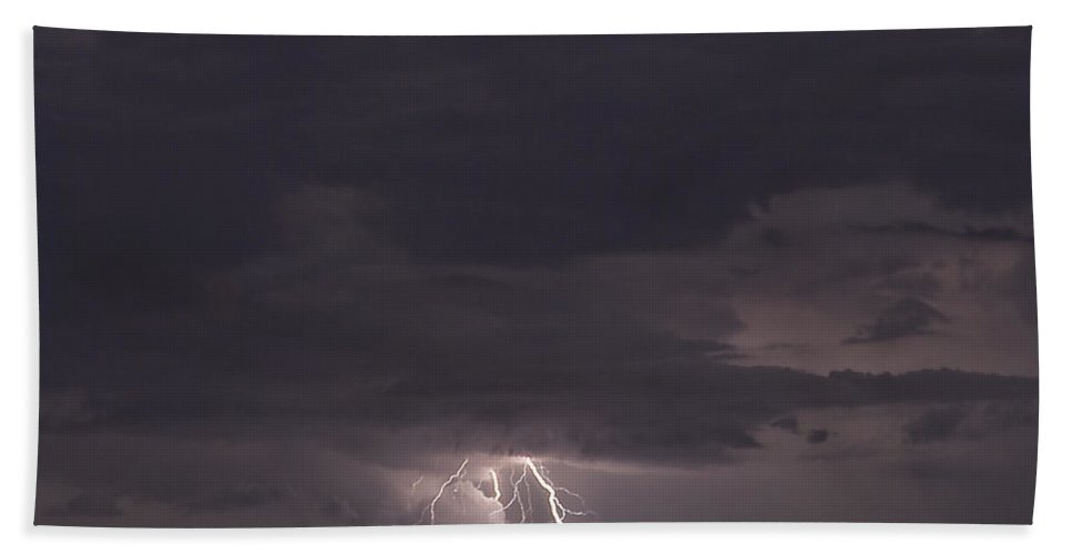 Lightning Beach Towel featuring the photograph Distant Lightning by Stephen Whalen