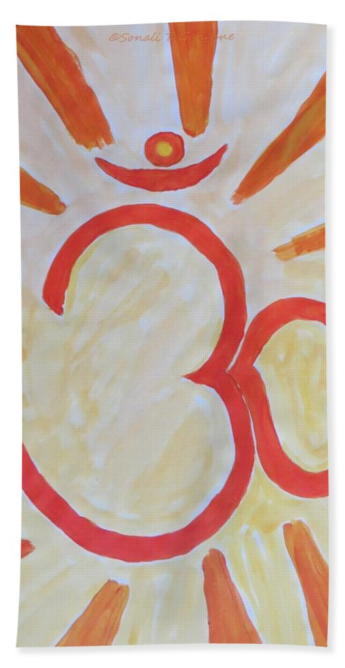 Chanting Aum Beach Towel featuring the painting Divine Aum by Sonali Gangane