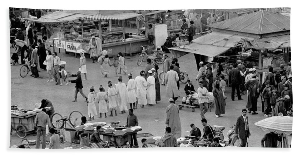 Street Food Beach Towel featuring the photograph Djemaa El Fna Marrakech Morocco by Tom Wurl
