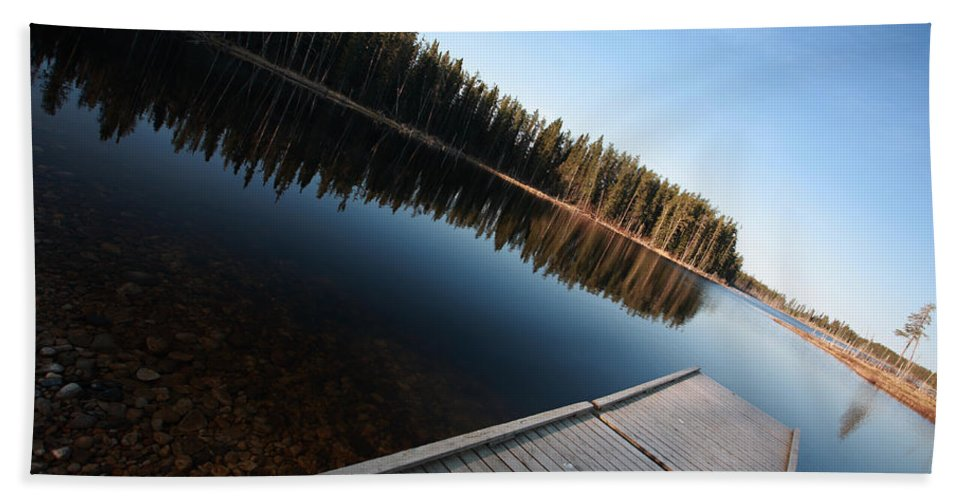 Dock Beach Towel featuring the digital art Dock On Northern Manitoba Lake by Mark Duffy