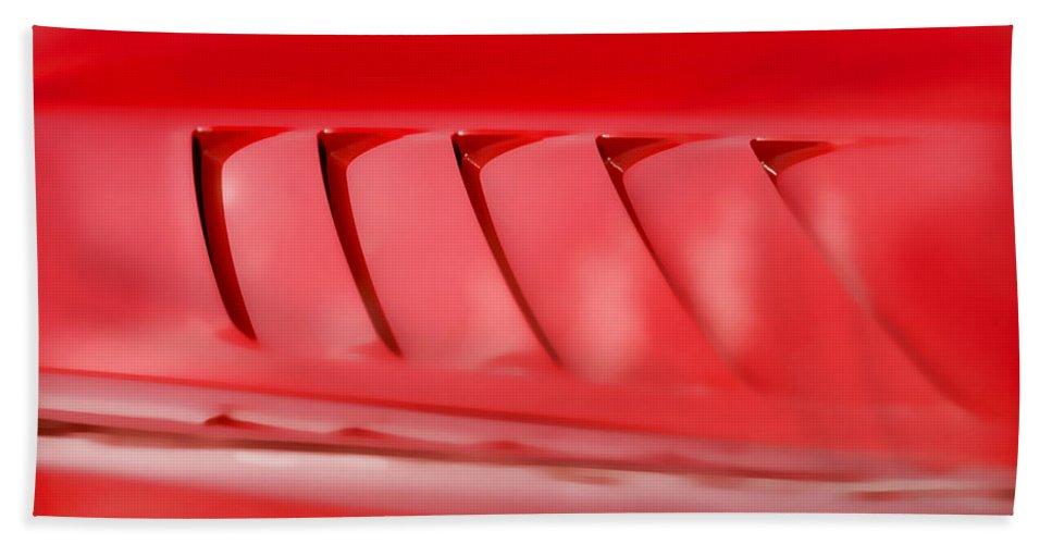 Red Beach Towel featuring the photograph Dodge Viper Hood Gills by Gordon Dean II