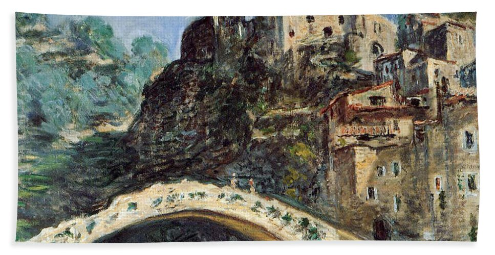 Dolceacqua Beach Towel featuring the painting Dolceacqua by Claude Monet