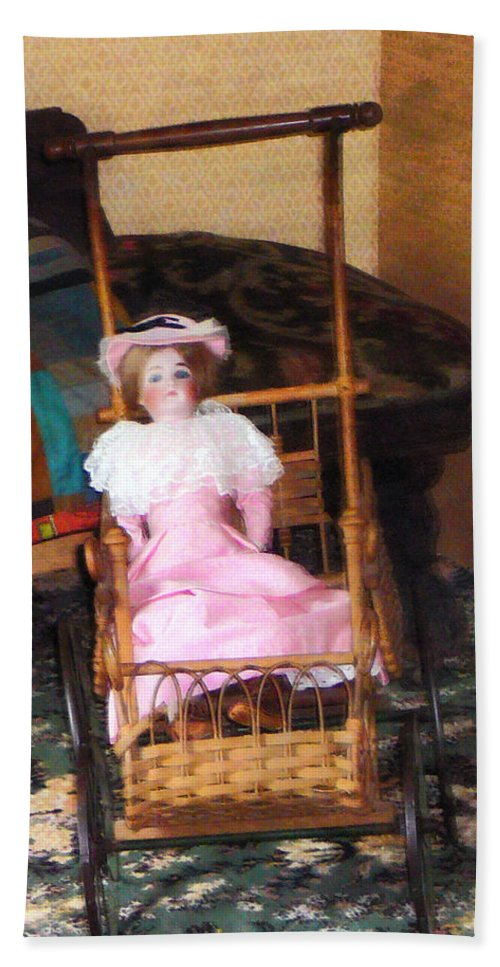 Doll Beach Towel featuring the photograph Doll In Carriage by Susan Savad