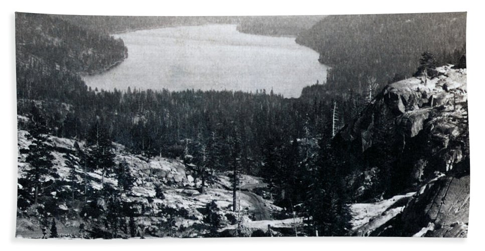 donner Lake Beach Towel featuring the photograph Donner Lake - California - C 1865 by International Images