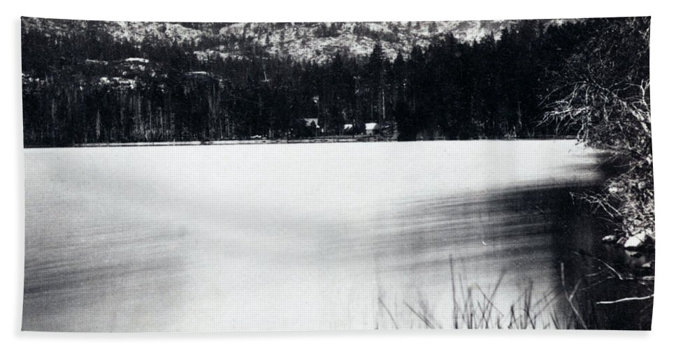 donner Lake Beach Towel featuring the photograph Donner Lake And Pass - California - C 1865 by International Images