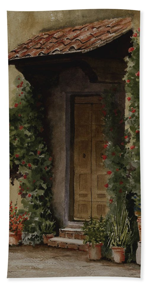 Door Beach Towel featuring the painting Door With Roses by Sam Sidders