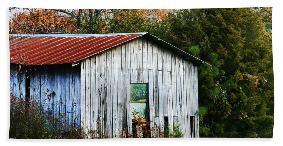 Shed Beach Towel featuring the photograph Down On The Farm - Old Shed by Kathy Clark