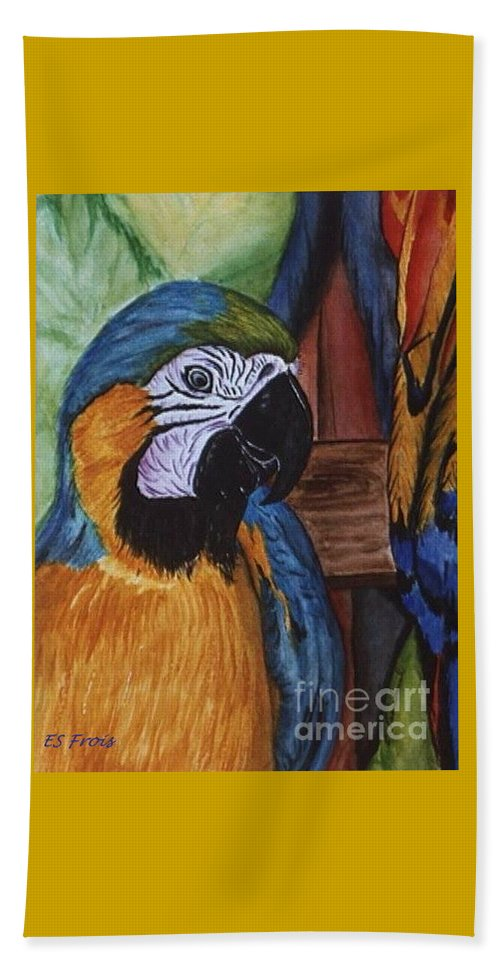Parrots At Down The Hatch Beach Towel featuring the painting Down The Hatch by Evelyn Froisland