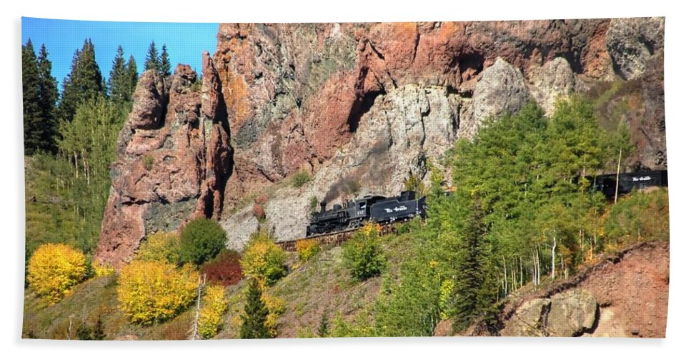 Steam Train Photographs Beach Towel featuring the photograph Down Windy Point by Ken Smith