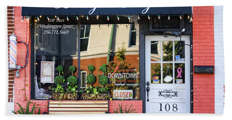 Downtown Beach Towel featuring the photograph Downtown Beauty Lounge by Kathy Clark