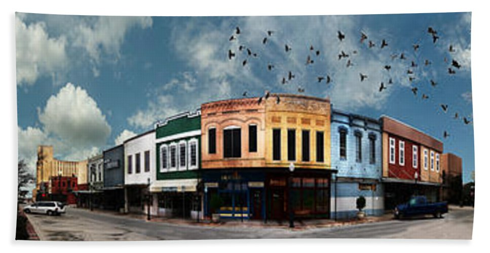 Bryan Beach Towel featuring the photograph Downtown Bryan Texas Panorama 5 To 1 by Nikki Marie Smith
