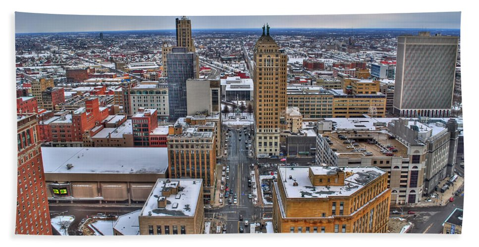 Beach Towel featuring the photograph Downtown Court St Winter Scene by Michael Frank Jr