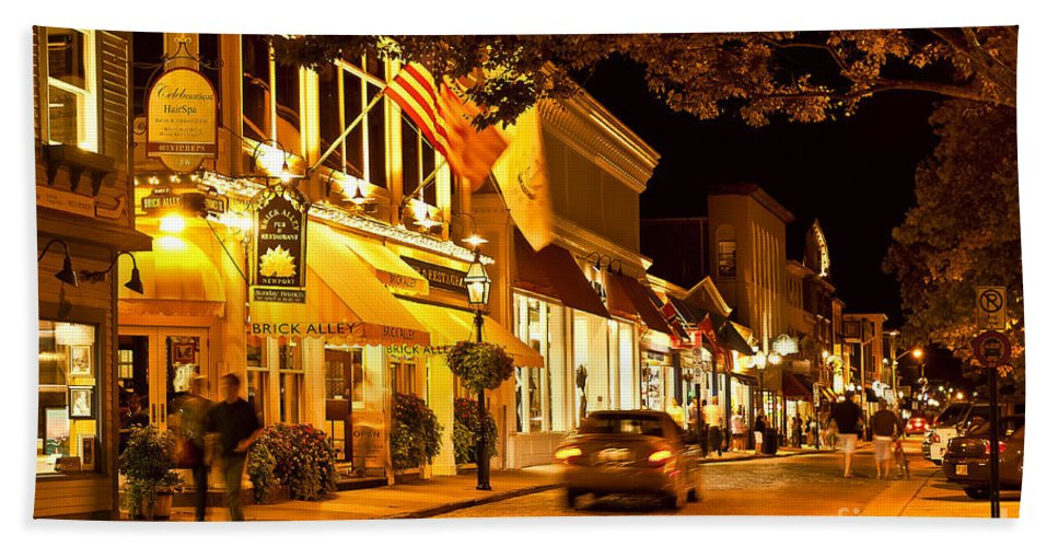 Brick Alley Beach Towel featuring the photograph Downtown Newport by John Greim
