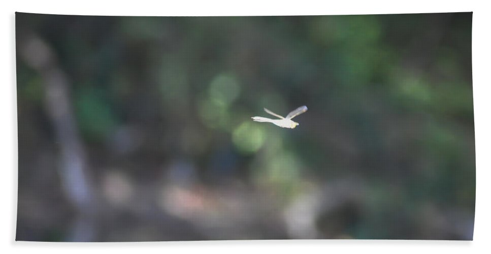 Dragonfly Beach Towel featuring the photograph Dragon Fly In Flight by Bill Cannon