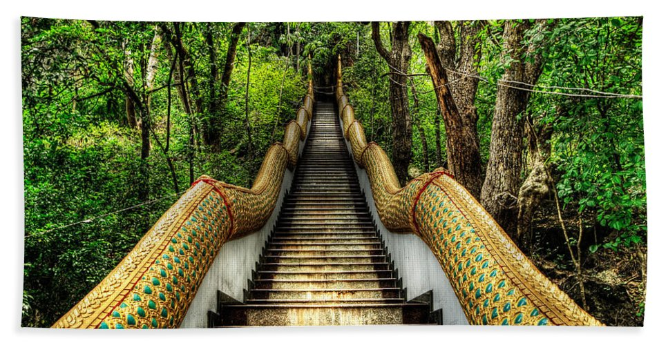 Temple Beach Towel featuring the photograph Dragon Steps by Adrian Evans