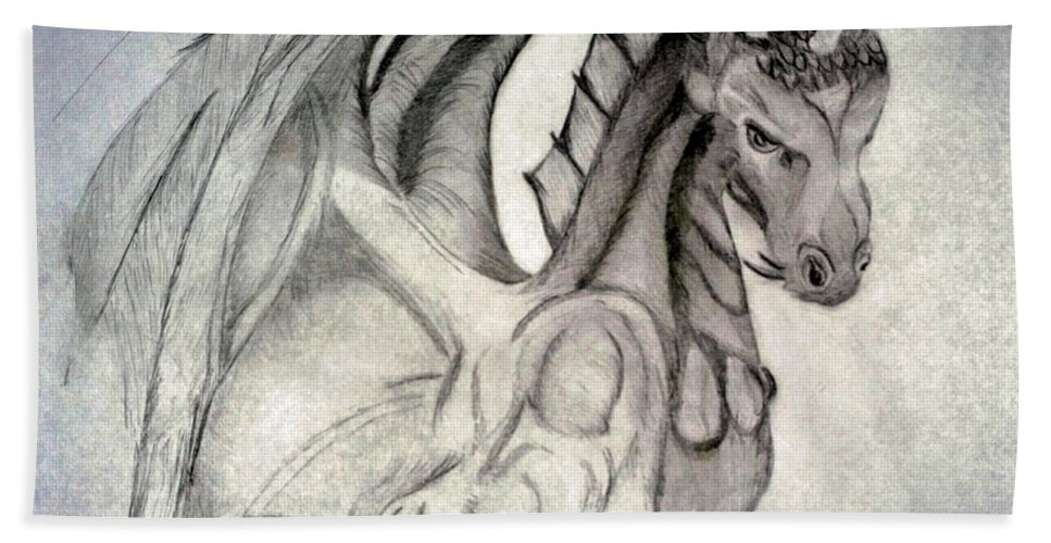 Dragonheart Beach Towel featuring the drawing Dragonheart - Bw by Maria Urso