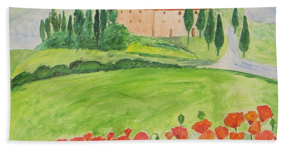 Poppy Garden Beach Towel featuring the painting Dream Home by Sonali Gangane