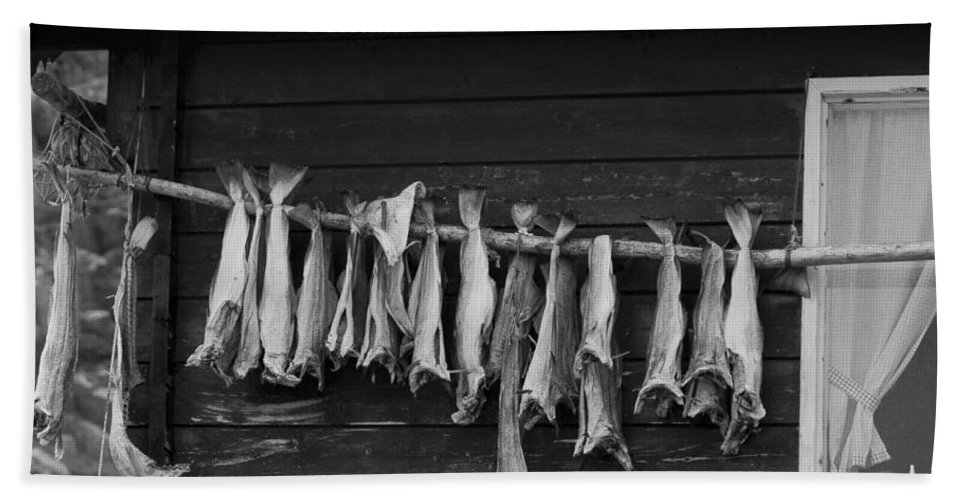 Fish Beach Towel featuring the photograph Dried Cod On A Line by Heiko Koehrer-Wagner