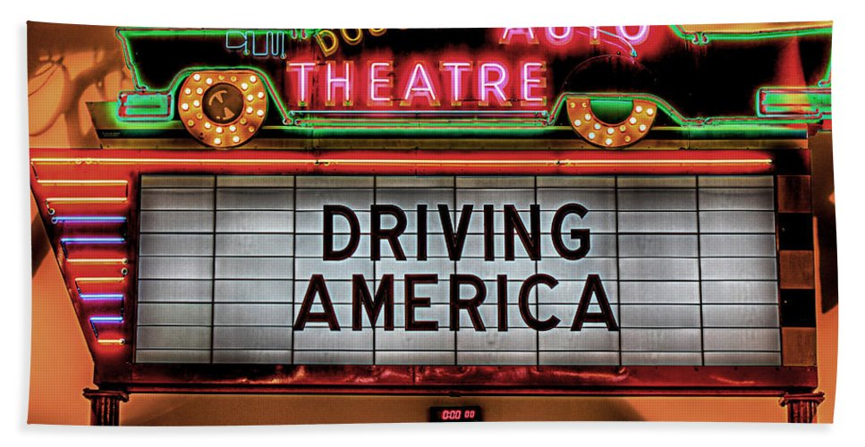 Beach Towel featuring the photograph Driving America Douglas Auto Theatre by Nicholas Grunas