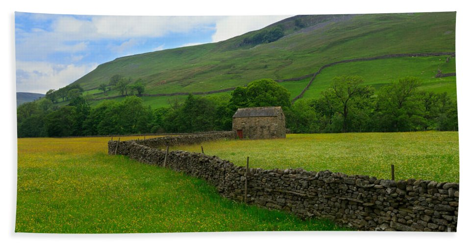 Field Beach Towel featuring the photograph Dry Stone Walls And Stone Barn by Louise Heusinkveld