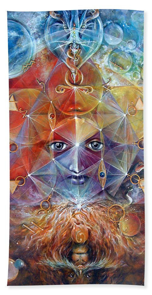 Fantasy Beach Towel featuring the painting Duality by Penny Golledge