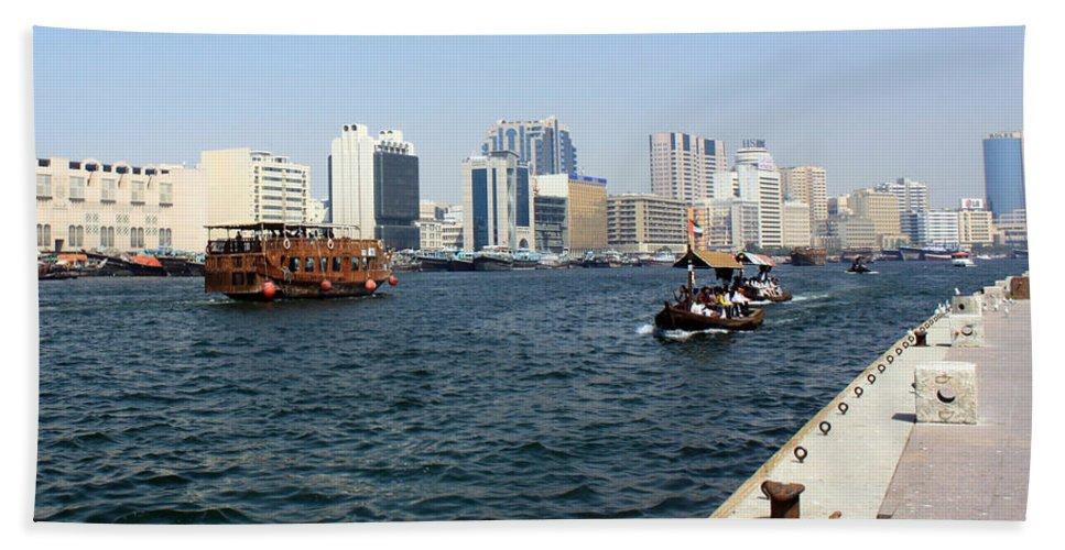 Dubai Beach Towel featuring the photograph Dubai Pier by Munir Alawi