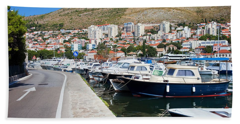 Anchoring Beach Towel featuring the photograph Dubrovnik Cityscape And Harbor by Artur Bogacki