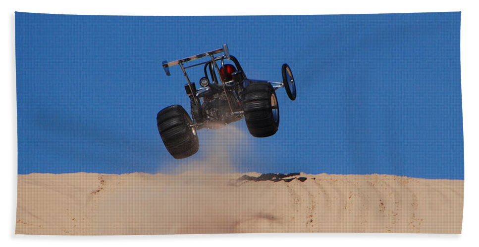 Dune Buggy Beach Towel featuring the photograph Dune Buggy Jump by Grace Grogan