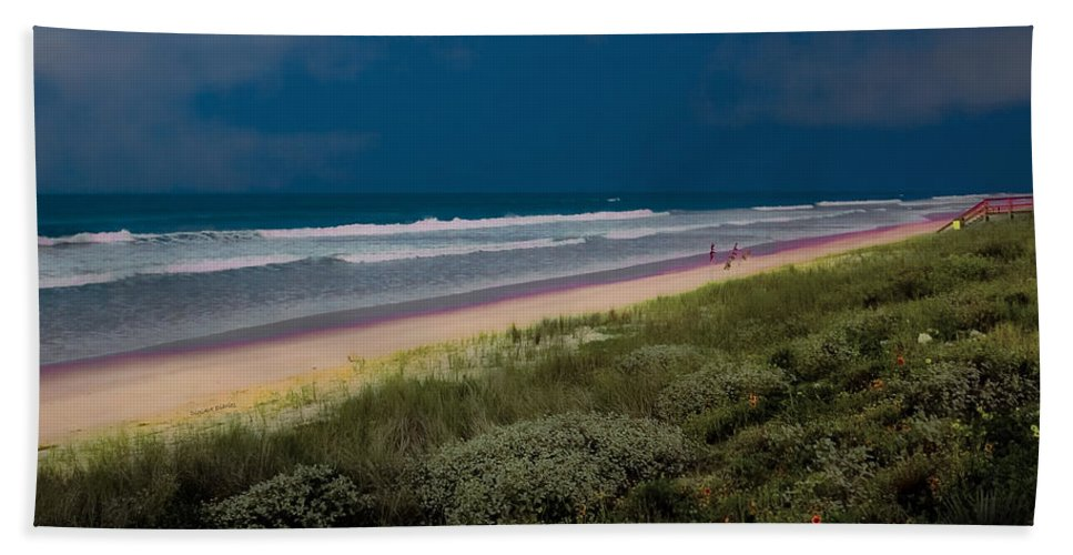 Ocean Beach Towel featuring the photograph Dunes And Ocean Divided by DigiArt Diaries by Vicky B Fuller