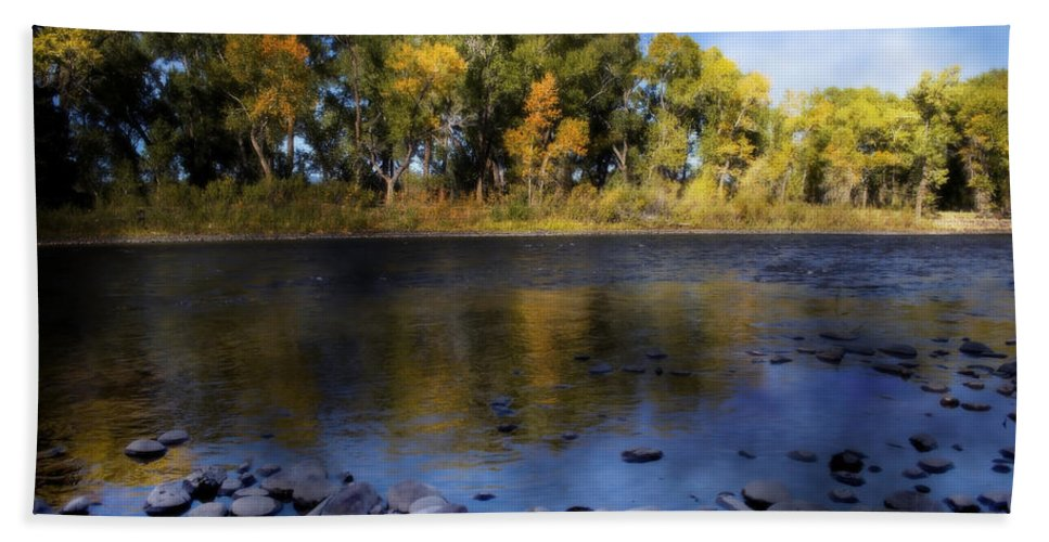 Rio Grande Beach Towel featuring the photograph Early Fall At The Headwaters Of The Rio Grande by Ellen Heaverlo
