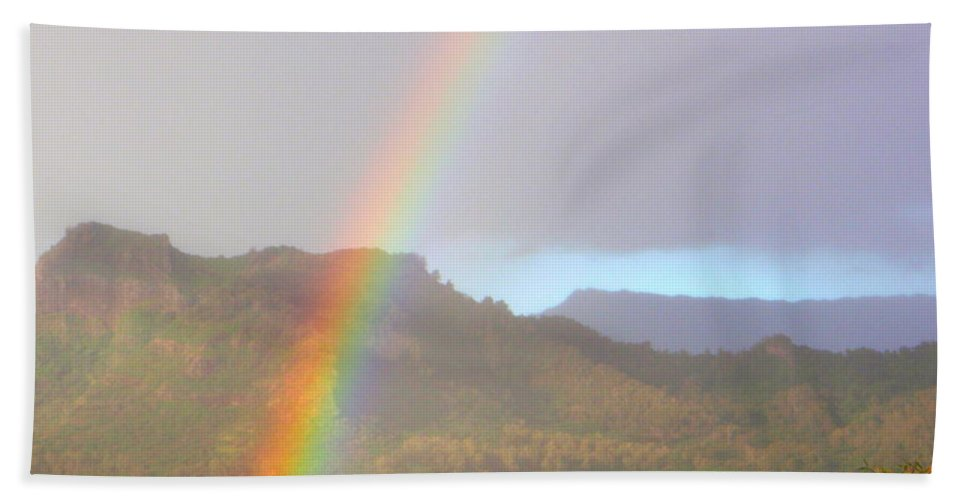 Rainbow Beach Towel featuring the photograph Early Morning Rainbow At Sleeping Giant Mountain by Mary Deal