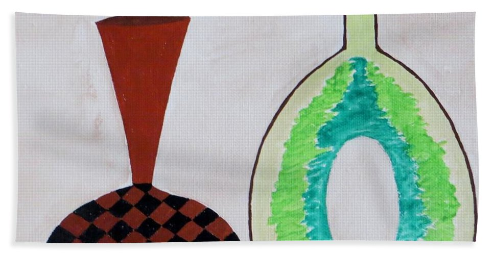 Colorful Vases Beach Towel featuring the painting Earthen Decorative Pottery by Sonali Gangane